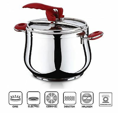 ESILA Stainless Steel Stovetop Pressure Cooker Stockpot Induction Base 5/7 Litre