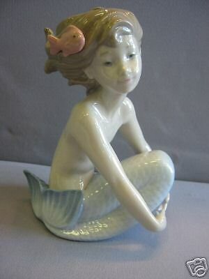 Mermaid Sitting Sea Girl Maiden With Fish Porcelain Figure Nao By Lladro   #1459