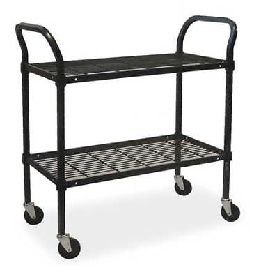 Wire Cart,2 Shelf,48x24x39,Black ZORO SELECT 2HDJ1