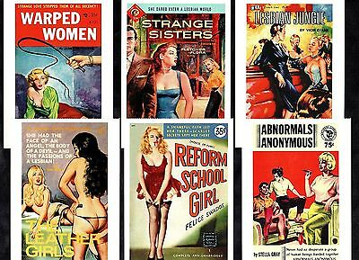 6 Glamour Postcards Classic Pulp Fiction Covers Pin-Up Girls Lesbian Leather