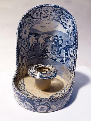 "Antique Blue & White ""Pratts Native Scenery"" Go To Bed Candle Holder Prattware"