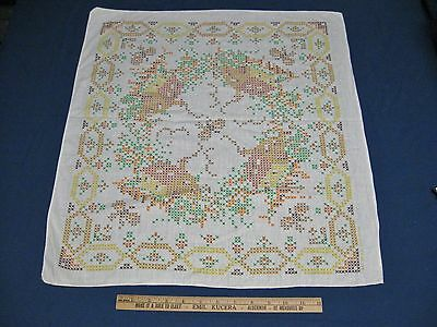 """Retro/Vintage Stamped Cross Stitch-To Be Embroidered-Table Topper-23"""" by 21"""""""