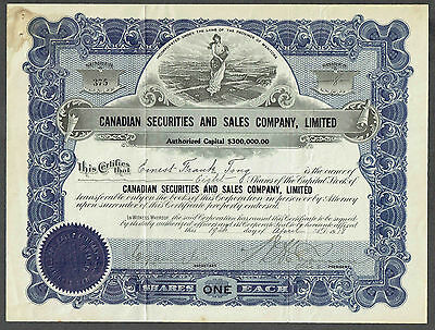1919 Canadian Securities and Sales Co. Stock Certificate, Winnipeg, Manitoba
