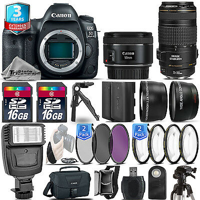 Canon EOS 5D Mark IV Camera + 50mm + 70-300mm USM + EXT BAT + 32GB +2yr Warranty
