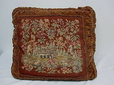 ANTIQUE HAND STITCHED NEEDLEPOINT PILLOW w BROWN VELVET with CASTLE SCENE 22""