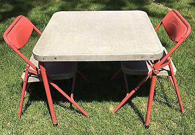 Vintage Samsonite Child Folding Card Table & 2 Chairs Red