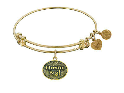 Angelica Antique Yellow Stipple Finish Brass dream Big! Expandable Bangle