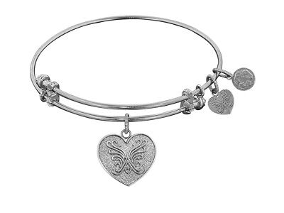 Angelica Non-antique White Stipple Finish Brass angelica Heart Expandable Bangle