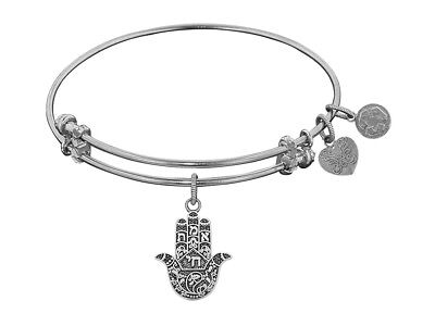 Angelica Collection Antique White Stipple Finish Brass hamsa Expandable Bangle