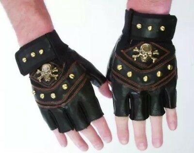 Men's Skull Stud Biker Punk Driving Motorcycle Fingerless Leather Gloves