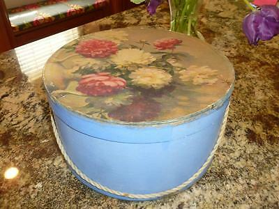 "Vintage 1960's Round Cardboard Blue Floral HAT BOX w/ Cord  7"" x 12"""