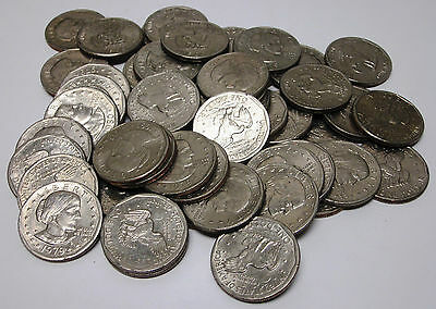 Bulk Lot of 50 Circulated Unsearched Susan B. Anthony Dollars!