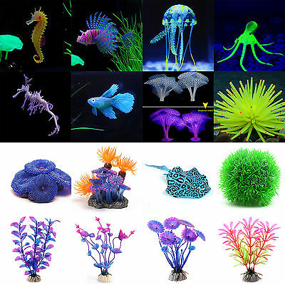 Aquarium Fish Tank Landscaping Decor Silicone Simulation Animal Plant Ornaments