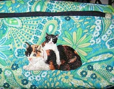 Q cosmetic CALICO CAT/Kitten Quilted Blue Floral Dble Zip Fabric Cosmetic