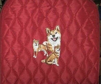 Q lunch SHIBA INU Quilted BURGUNDY Insulated Fabric Lunch Sack Tote Bag