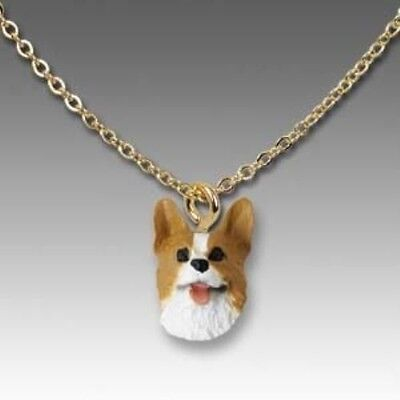 Dog on Chain WELSH CORGI RED Dog Head Necklace