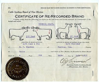 New Mexico Cattle Horse Brand Registration. 1913