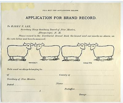 New Mexico Territory Application For Brand –Sheep - Goats