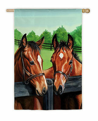 Horse Flag HORSES by FENCE Full-Size Outdoor Flag CLEARANCE SALE