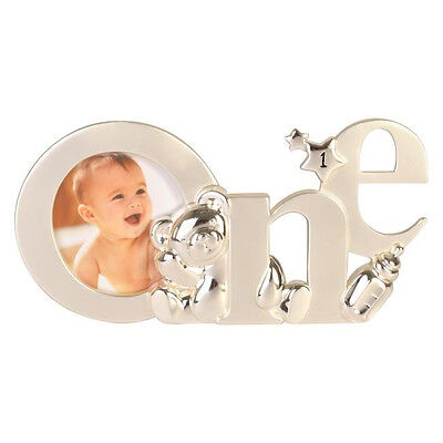 Silver Baby Girl Boy ~ My 1st First One Birthday ~ Teddy Photo Picture Frame