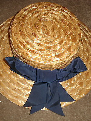 Vintage Laura Ashley Straw Boater Ladies Hat Navy Ribbon Bow 80's Rare & Unworn!