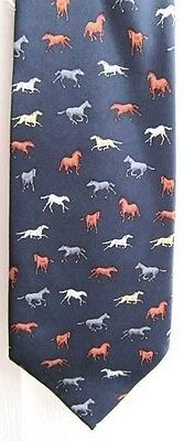 Quality HORSES Design Navy Color Mens Silk Necktie CLEARANCE SALE