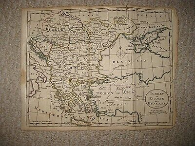 Antique 1790 Turkey In Europe Hungary Transylvania Greece Copperplate Map Rare