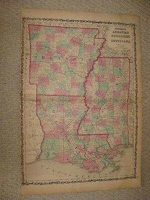 Large Superb Antique 1862 Arkansas Mississippi Louisiana Johnson Map New Orleans