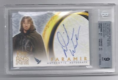 Lord of the Rings LOTR David Wenham Faramir autograph auto card BGS 9 AUTO 10