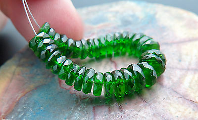 34 VERY FINE AAAAA 4.5-6+mm RICH GREEN CHROME DIOPSIDE BEADS TRANSPARENT - 20+ct