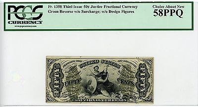"""3rd Issue Fr.1358 50c U.S. Fractional Currency Note w/ """"JUSTICE"""" - PCGS 58 PPQ"""