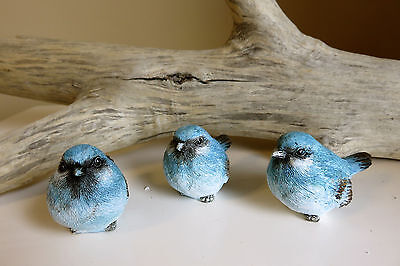 3 SMALL BIRDS 2.75 in. BLUE GARDEN POND DECOR NEW RESIN