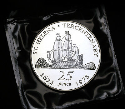 1973 St. Helena 25 Pence KM# 5a Silver Proof GEM FDC 10,000 Minted