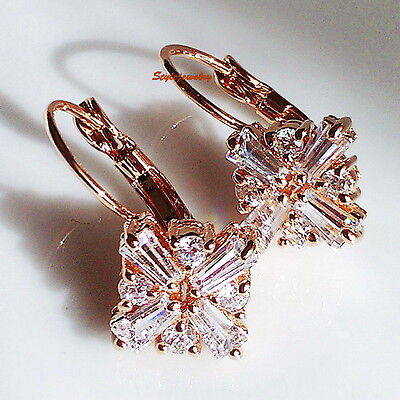 Rose Gold Filled Leverback Windmill Earring Made With Swarovski Crystal XE106