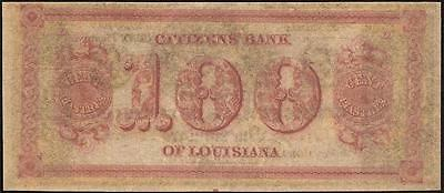 UNC 1800s $100 DOLLAR BILL CITIZENS BANK OF LOUISIANA NOTE LARGE PAPER CURRENCY
