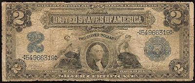 LARGE 1899 $2 TWO DOLLAR BILL SILVER CERTIFICATE CURRENCY NOTE MONEY 1st Fr 249