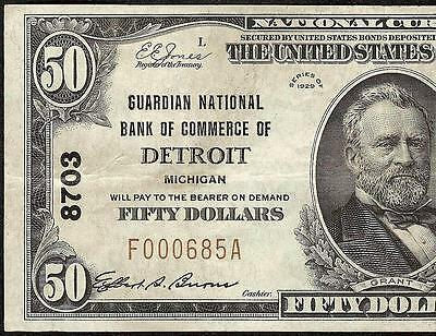 1929 $50 Dollar Bill Gurdian National Bank Note Detroit Michigan Currency 8703
