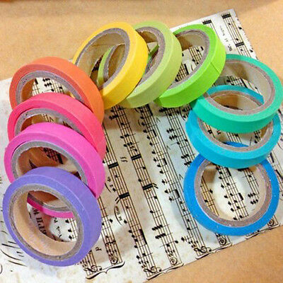 10x Rainbow Washi Sticky Paper Masking Adhesive Decorative Tape Scrapbooking FS