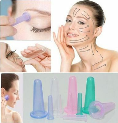 5PCS Health Care Face Eye Anti age  Facial Lifting Massage Silicone Cupping Cups