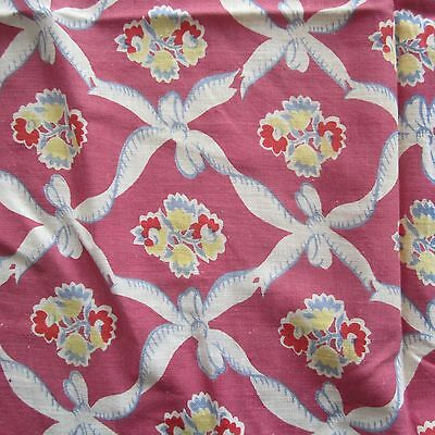 Fq Amazing Very Old Vintage Cotton Quilt Fabric Roses & Bows Antique Rescued