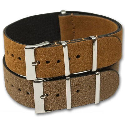 Genuine SUEDE Leather Watch Strap Band NATO G10 Military MoD Zulu brown tan