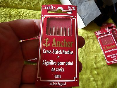 Anchor Cross Stitch Needles Sz 22 Pack 6 For 7-10 Count Fabric Inclusive G160-57