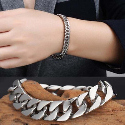Men's Silver Stainless Steel Chain Link Bracelet Wristband Bangle Jewelry Punk H