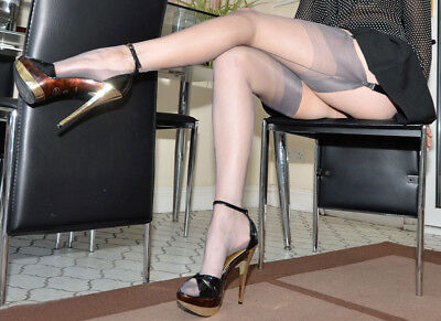 Gio Fully Fashioned Stockings - PLATINUM / POINT Heel - Imperfects