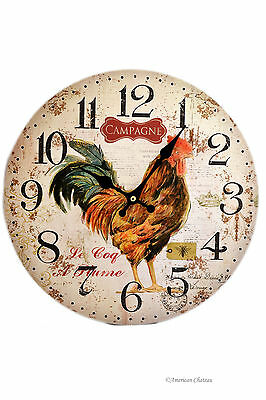 "13.25"" Large Vintage French Country Kitchen Rooster Bistro Wood Wall Clock"