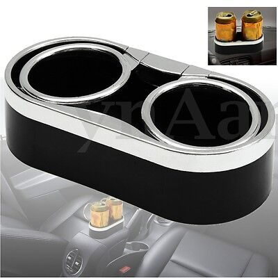 Auto Car Truck Mount Dual Black Cup Holder Drink Bottle Adhesive + 2 Top Rings