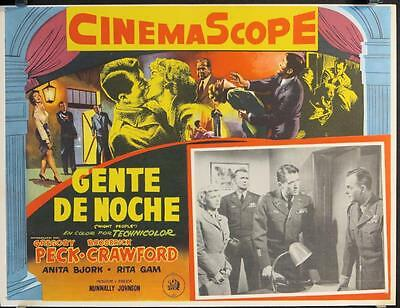 L743 NIGHT PEOPLE Mexican Lobby Card '54  military soldier Gregory Peck