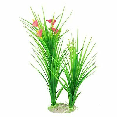 Sourcingmap Aquarium Tank Water Flower/Leaf/Grass Adorn 12.6-Inch Fuchsia/Green
