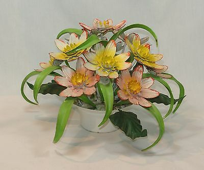 Vintage TOLEWARE Metal Floral CENTERPIECE Flowers and Leaves Italian Bouquet