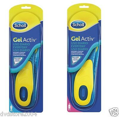 Scholl GEL ACTIV Everyday Solette Uso Quotidiano 2 Plantari Piedi Uomo Donna